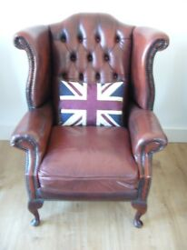 Antique Brown Tan Queen Anne Leather Chesterfield Wing Back Arm Chair Fireside Vintage