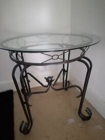 Dining Table Round with Glass top metal base