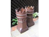 2x Reclaimed Victorian Crown Chimney Pots.