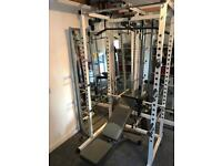 Home gym, dumbbells, squat cage, treadmill