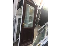 **UPVC DOUBLE GLAZED DOOR**ANGLIAN GLASS**ROSEWOOD**COMPLETE WITH FRAME AND KEY**NO OFFERS**
