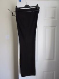 Next ladies black trousers. Size 16 Long length with belt. Worn once. £7