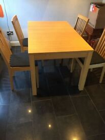 Bjursta table and 4 chairs, oak veneer