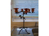 Art Nouveau naive style 6 arm metal candelabra with amber glass holders
