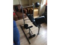 Weights Bench + 30kg Weights and Bar