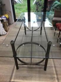 Large Glass Dining Table with Metal legs