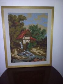 Framed worked tapestry canvas