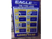 Goodyear Metal Plaque Garage Memorabilia Eagle F1 Tyre Laws
