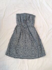 Beautiful blue patterned strapless dress size 10-12 from Next