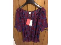BNWT size 14 Monsoon blouse maroon With Blue botanical detail