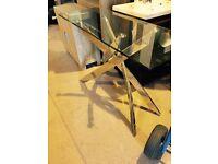 glass- chrome,, new hall table