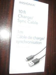 Insignia 10 ft. Micro USB Sync Cable / Charger for PS4 Controller / Smart Phone / Tablet. NEW