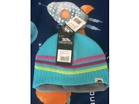Brand New Trespass Kids Stripe Beanie Hat 5-7 Yrs