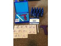 Ear piercing guns, studs, ear cleaner and sanitation wipes
