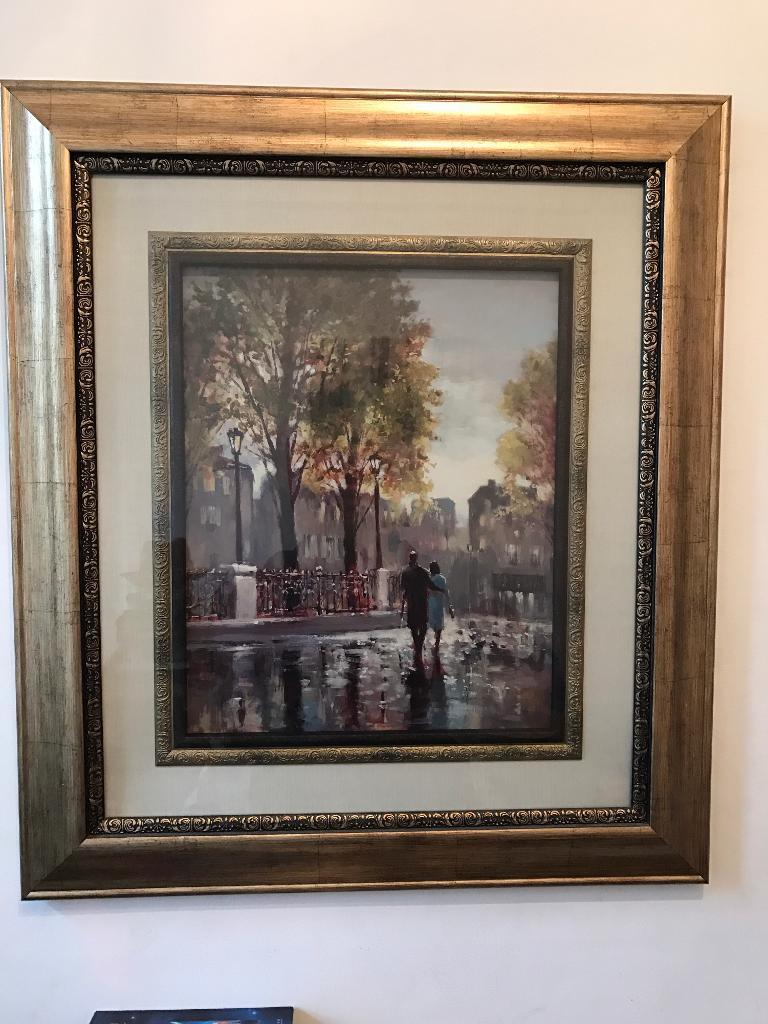 2 large framed prints mounted in 3 layers in old gold frames