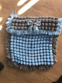 Pom Pom blanket baby blue and grey