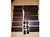 JOB LOT OF WIRELESS/BLUETOOTH KEYBOARDS AND MICE SOLD AS SEEN