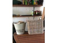 Kindling bucket and wicker log basket