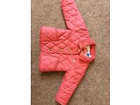 Joules 6-9 months pink quilted jacket