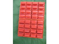 Red 32 Drawer Multi Organiser Nail Bolt Screw Craft Bits Wall Storage