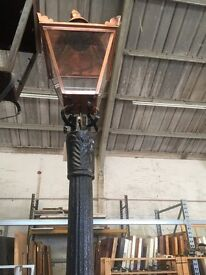 Cast iron lamp post with copper lamp