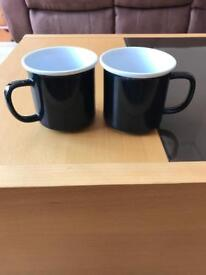2 Black mugs - excellent condition