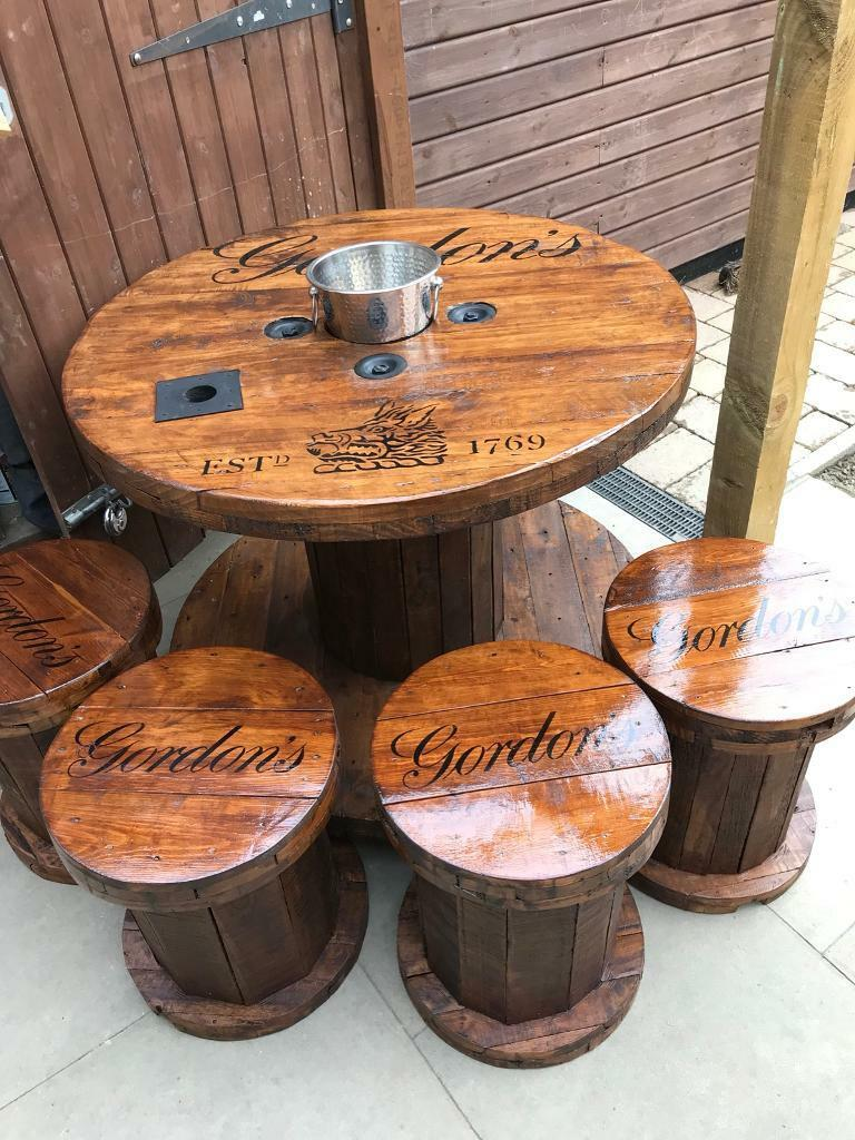 Up Cycled Cable Reel Table And Chairs In Darlington