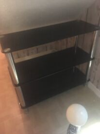 Black glass 3 tier unit/ to stand £20