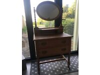 Small two-drawer dressing table with mirror in ash.