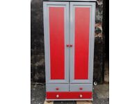 Solid Pine Wardrobe Painted red and grey