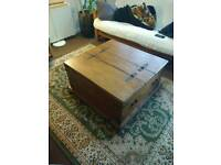 Antique style pine coffee table chest dark oak varnish