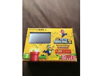 (Used once) Nintendo 3DS XL limited edition grey & black, Super Mario Bros 2 + charger