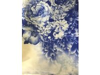 Gorgeous 100% Purse Silk Scarf/Shawl BNWT Floral in China Blue