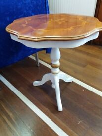 Small Round upcycled table in off white and gold
