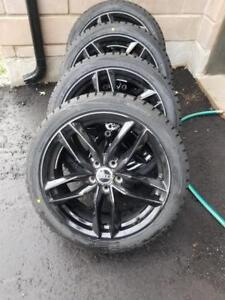 BRAND NEW  AUDI A5 / S5 ULTRA HIGH PERFORMANCE DUNLOP  WINTER TIRES 245 / 40 / 18 ON AFTERMARKET ALLOY WHEELS