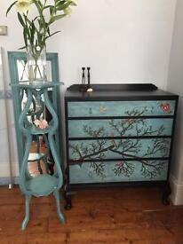 Vintage solid drawers / sideboard black and teal hand painted bespoke