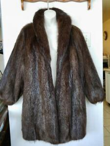 Oakville 14 16 Petite BEAVER REAL FUR SWING COAT JACKET Vintage MINT Cold-stored BROWN HBC Dolman slv Batwing Short wide
