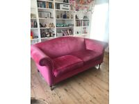 Laura Ashley Gloucester Large 2 Seater Easy Access Sofa in Raspberry Red / Pink. Hardly Used