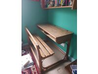 Beautiful vintage double school desk with bench