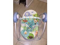 Bright starts Playful Pals swing in great condition, batteries included.