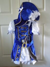 Girls pirate costume/outfit with a hat and sword 7-8 years old