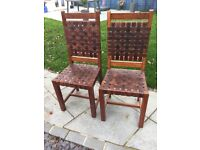 Wood and leather pair of chairs - very attractive