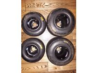 Douglas SE full mag Karting Rims (like New) with used Mojo minimax slicks