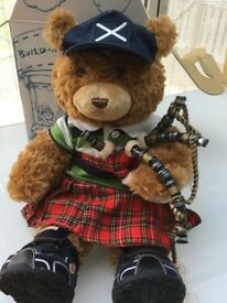 Build a Bear Scottish bear with kilt and bagpipes