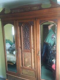 Antique Victorian Edwardian Burr Walnut Wardrobe