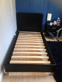 Single Bed Frame in Dark Brown Faux Leather with wood slats in great condition ready soon
