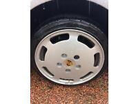 Porsche 928 16in alloys and new tyres vw golf corrado adapters 4x100