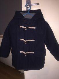 Boys navy blue duffer coat