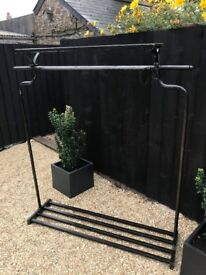 Steel Handmade Boutique Rails with shelf - Have 3 in total - Specially made - VGC
