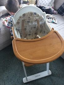 Mothercare wooden highchair with cushion pad